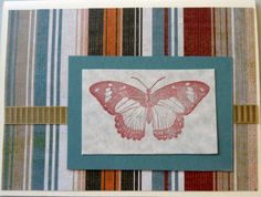 """Even with a butterfly on the front this is a good """"guy"""" card - the stripes, the tan colored ribbon, even the color of the butterfly make it somewhat masculine..."""
