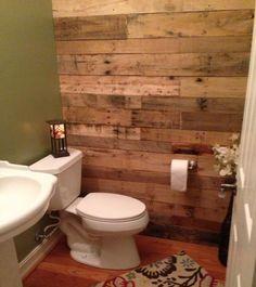 Creative 41 Diy Pallet Bathroom Walls Ideas 85 My New Bathroom Loving the Pallet Wall 8 Pallet Wall Bathroom, Pallet Walls, Laundry In Bathroom, Downstairs Bathroom, Shiplap Bathroom, Bathroom Interior, Small Bathroom, Palettes Murales, Hm Deco