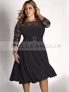 Robe de Cocktail Grande Taille Dentelle Mousseline Courte Simple