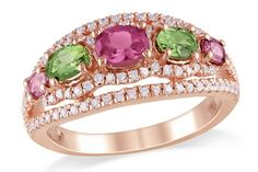 Pink & Green Tourmaline Ring