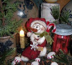 "Primitive Patti's Ratties Doll 6"" Snowman Stocking Frosty Christmas Ornament"
