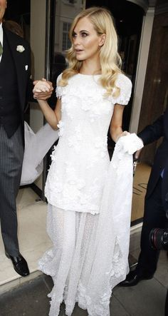 a close up of Poppy D's chanel wedding dress