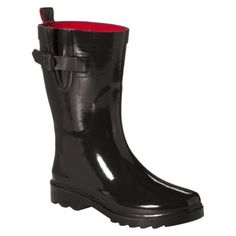 Womens Short Solid Rain Boot - Black Size 6 Please!