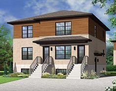 Plan 22325DR: Stylish Contemporary Triplex House Plan