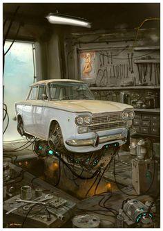 "Serie Universo Chatarra. ""Taller mecánico"" de Alejandro Burdisio."