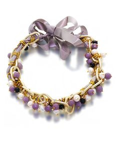 Take a look at this Pearl & Gemstone Cluster Necklace with Ribbon Tie by Orchria on #zulily today!
