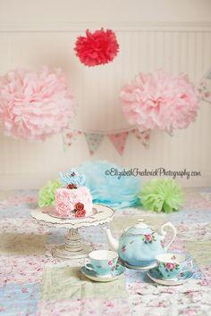 Tea Party Smash Cake Session | CT Smash Cake Photographer Elizabeth Frederick Photography www.ElizabethFrederickPhotography.com