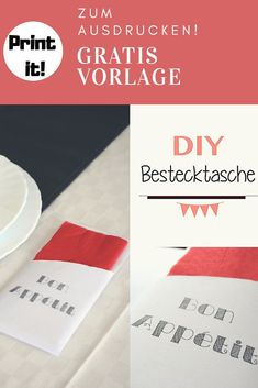 DIY BESTECK TASCHE ZUM AUSDRUCKEN Tafel dekorieren, Tisch Deko, Print It!  VORLAGE zum Ausdrucken Diy Inspiration, German, Cards Against Humanity, Handmade, Free, Napkins, Decorating, Homemade, Do It Yourself