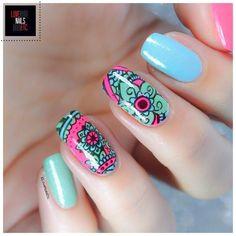Mandala nail art by Love Nails Etc Beautiful Nail Art, Gorgeous Nails, Love Nails, How To Do Nails, Pretty Nails, Fun Nails, Nail Manicure, Nail Polish, Pedicure