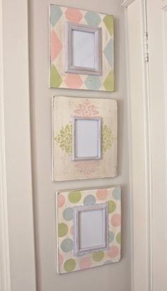 Floral, Harlequin, Polka Dot Distressed Wood Hand Painted Picture Frame Set/Grouping for Baby Nursery Picture Frame Chalkboard, Painted Picture Frames, Picture Frame Decor, Picture Frame Sets, Decoupage, Wall Painting Living Room, Frame Crafts, Easy Diy Crafts, Diy Canvas