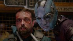 "20 Things We Learned On The Set Of Guardians Of The Galaxy - Ronan and Nebula are like a dysfunctional couple. Ronan The Accuser (played by Lee Pace) is the main baddie of Guardians and he's a pretty dark fellow. ""He's really bad guy. There's not a lot of love in his heart,"" explains Pace. Though he's not completely without emotion. Karen Gillan's Nebula, who fights for evil along side Ronan, is like the dastardly yin to his yang. ""There's a connection between the two of us,"" Pace explains…"