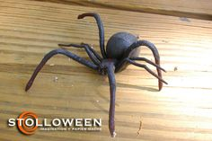 Here is my inspiration for some large papier mache spiders. A small plastic spider toy I have had for many, many years: And here is a a. Halloween 2020, Outdoor Halloween, Halloween Spider, Halloween Projects, Spooky Halloween, Happy Halloween, Halloween Ideas, Halloween Parties, Diy Spider Decorations