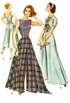 McCall's 4318 Misses' Vintage 1950s Lounging or Patio Culottes, Bolero and Belt…