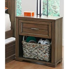 Logan Collection 1 Drawer Nightstand - Driftwood Grey - 1301-601