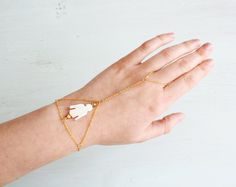 New to MoonTideJewellery on Etsy: Thunderbird Hand Chain - Gold Mother of Pearl Hand Piece - Shell Handchain - Tribal Boho Slave Bracelet - Native American Ring Bracelet (16.99 GBP)
