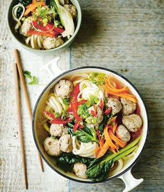 Prep Time: 15 Minutes | Cooking Time: 45 MinutesServes 4Trying to cut down on the takeaways? Try this instead, a traditional dish full of authentic flavours; for vegetarians, just omit the meat balls and use vegetable stock.