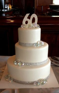 60th Wedding anniversary cake with a little bling.                                                                                                                                                     More