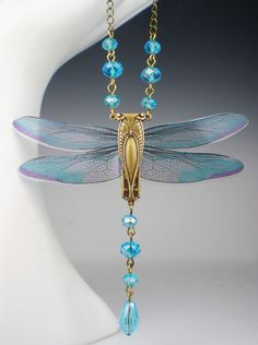 Dragonfly Necklace Aqua Art Nouveau Vintage by milminedesign