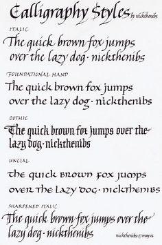 Calligraphy Styles - Nicholas Caulkin