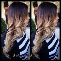 Brown to light blonde ombre hair