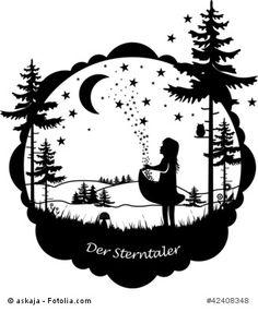 Das Märchen der Sterntaler der Gebrüder Grimm. Und wie es so stand und gar nichts mehr hatte, fielen auf einmal die Sterne vom Himmel...