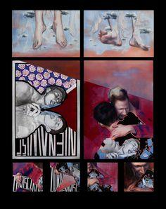 ''Całość z części-części całości'' Angelika Korzeniowska, olej na płótnie, 180 x 140 (łącznie) 2015r