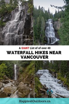 A giant list of over 40 waterfall hikes near Vancouver, BC, Canada. Includes all the waterfall hikes within a few hours of Vancouver, plus hiking directions and difficulty. Hike to waterfalls on one of these Vancouver trails. Hiking Tips, Hiking Gear, Lynn Canyon, Bryce Canyon, Vancouver Travel, Vancouver Island, Vancouver Vacation, Road Trip, Canadian Travel