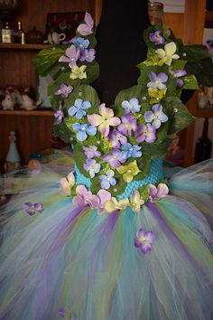 Adult fairy Queen costume dress 3D flowers fairy festival