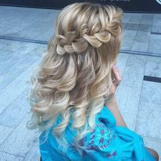 Curly Hair with a Braid Half Updo