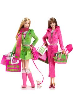Juicy Couture Barbie® Dolls  These two Barbie® dolls have the greatest pink and green outfits. These are two of my favorite colors. I even wrote a blog post about them, Pistachio and Pink.