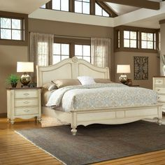 American Woodcrafters Chateau Distressed Antiqued Sleigh Bedroom Set. I may paint my furniture this color