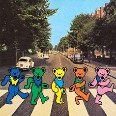 Dancing Bears on Abbey Road! Grateful Dead Wallpaper, Grateful Dead Poster, Grateful Dead Dancing Bears, Abbey Road, Forever Grateful, Oui Oui, Psychedelic Art, The Beatles, Beatles Art