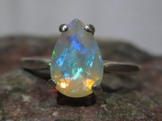 Natural Ethiopian Opal Solitaire Ring  Sterling by ZoZoDesignsUSA, $120.00