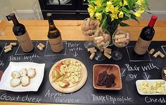 wine tasting/pairing party with chalkboard contact paper labeling. wine tasting/pairing party with chalkboard contact paper labeling. Wine And Cheese Party, Wine Tasting Party, Wine Cheese, Tasting Table, Cheese Bar, Cheese Fruit, Wein Parties, Chalkboard Contact Paper, Dc Fix