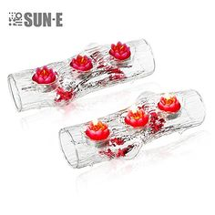 SUNE 8 PieceInclude The Candle trunk Shape Clear Glass Tea Light Candle Holders Set Centerpiece Great For Everywhere Match With Any Flower * More info could be found at the image url.