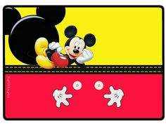 Mickey in Yellow and Red Free Printable Party Kit. Mickey Mouse E Amigos, Mickey E Minnie Mouse, Fiesta Mickey Mouse, Mickey Mouse Clubhouse Birthday, Mickey Mouse Parties, Mickey Party, Mickey Mouse And Friends, Imprimibles Mickey Mouse, Minnie Mouse Template