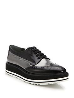 Brogues Oxford Shoes On Sale in Outlet, Scarlet, Leather, 2017, 7 Prada
