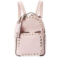 Valentino Garavani Women's Rockstud Mini Leather Backpack -... (858.510 CLP) ❤ liked on Polyvore featuring bags, backpacks, pink, mini bag, pink leather backpack, strap backpack, real leather backpack and miniature backpack