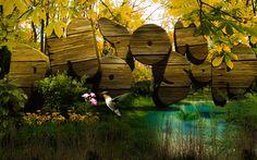 黄昏の森 3Dテキストと画像の組み合わせ