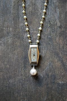 Items similar to Redesigned ART DECO necklace / vintage watch necklace / faux pearl / Upcycled necklace on Etsy