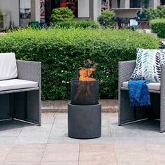 Wrought Studio Delshire Polyresin Wood Burning Fire Pit Size: H x W x D Natural Gas Outdoor Fireplace, Outdoor Fireplaces, Fire Pit Wayfair, Gas Fire Pit Table, Wood Burning Fire Pit, Pergola Canopy, Patio Heater, Wooden Decks, Gas Fires