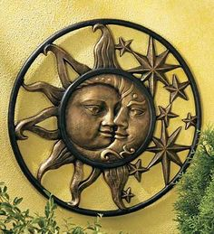 Handcrafted Weather-Sturdy Aluminum Sun & Moon Face Wall Sculpture by Wind & Weather® 20 inches