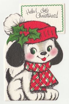 UNUSED Vintage Greeting Card Christmas Cute Puppy Dog Die-Cut L16