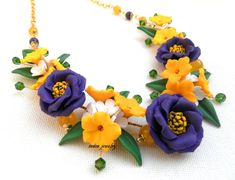 Violet jewelry  Flower necklace  Lisianthus  by insoujewelry