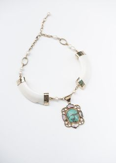 #Bohemian #gypsy bone & Turquoise #Stone #Statement #Necklace. #ninique #bone #turquoise #boho #fashion #festival #jewellery #jewelry #beach #shoot #jewels #stone
