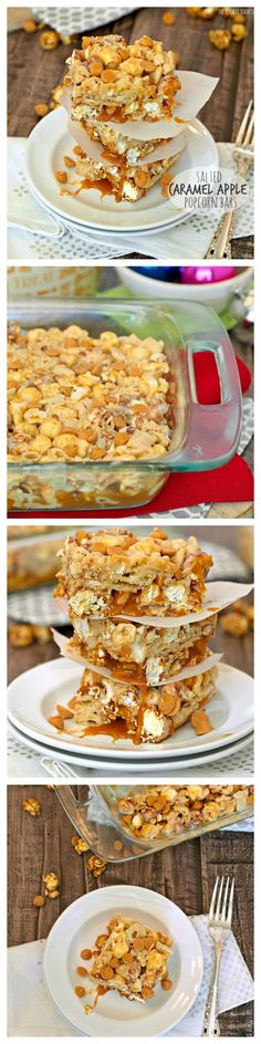 Salted Caramel Apple Popcorn Bars! I take these to work and people go crazy! - The Cookie Rookie | http://www.thecookierookie.com/salted-caramel-apple-popcorn-bars/ |