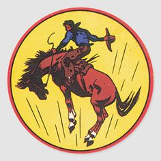 Rodeo cowboy on bucking horse from vintage art illustration in red, blue, and yellow. Size: inch (sheet of Gender: unisex. Rodeo Cowboys, Horse Illustration, Cowboy Art, Western Art, Round Stickers, Art Inspo, Vintage Art, Custom Stickers, Drawings