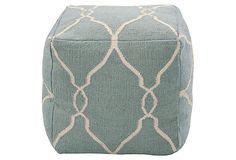 Arbor Pouf, Slate Blue/Ivory on OneKingsLane.com