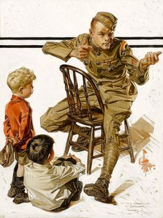 J.C. Leyendecker. The Hero's War Story (How Our Daddy Won The War) // I AM A CHILD (children in art history)