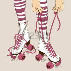 pattinare: Illustrazione con gambe femminili in pattini a rotelle retrò e…